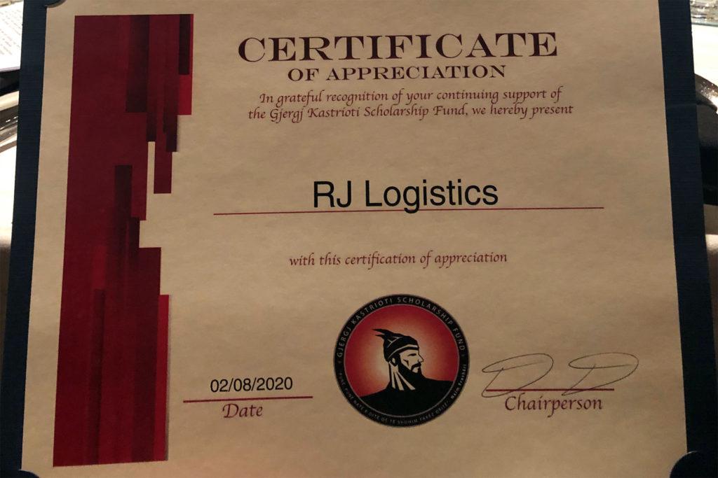RJ Logistics becomes a Silver sponsor in the Gjergj Kastrioti (GKS) Scholarship Fundraiser