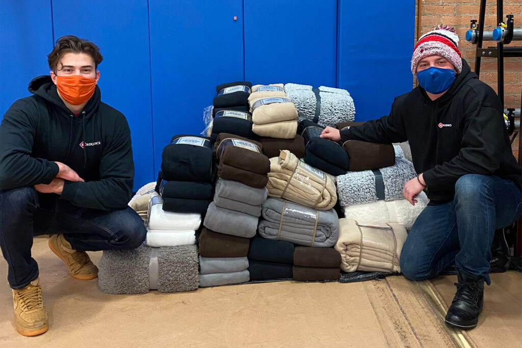 RJ Logistics partners up with NSO Detroit to provide blankets for the homeless community